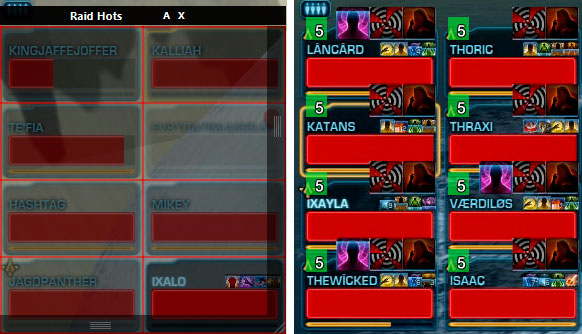 StarParse - Hots tracking overlay - configuration grid (left) and hots indication (right)