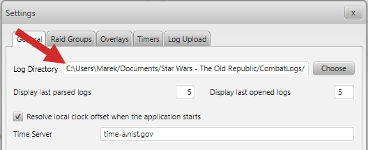 StarParse - Setting the combat log folder