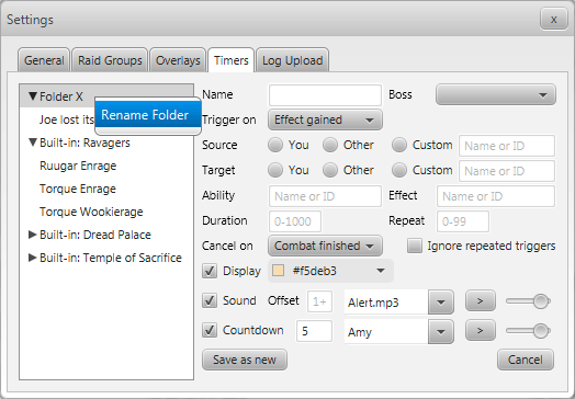 StarParse - Settings - Timers