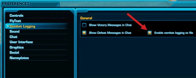 SWTOR - Enable Combat logging