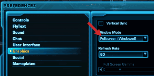SWTOR - Windowed fullscreen mode for Overlays
