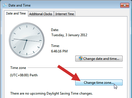 Windows Timezone settings